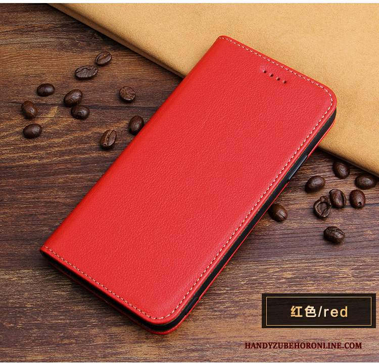 Custodia iPhone Xs Max Folio Telefono Rosso, Cover iPhone Xs Max Pelle Anti-caduta