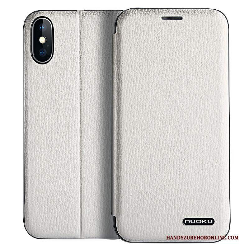 Custodia iPhone Xs Max Pelle Anti-caduta Tutto Incluso, Cover iPhone Xs Max Folio Biancotelefono