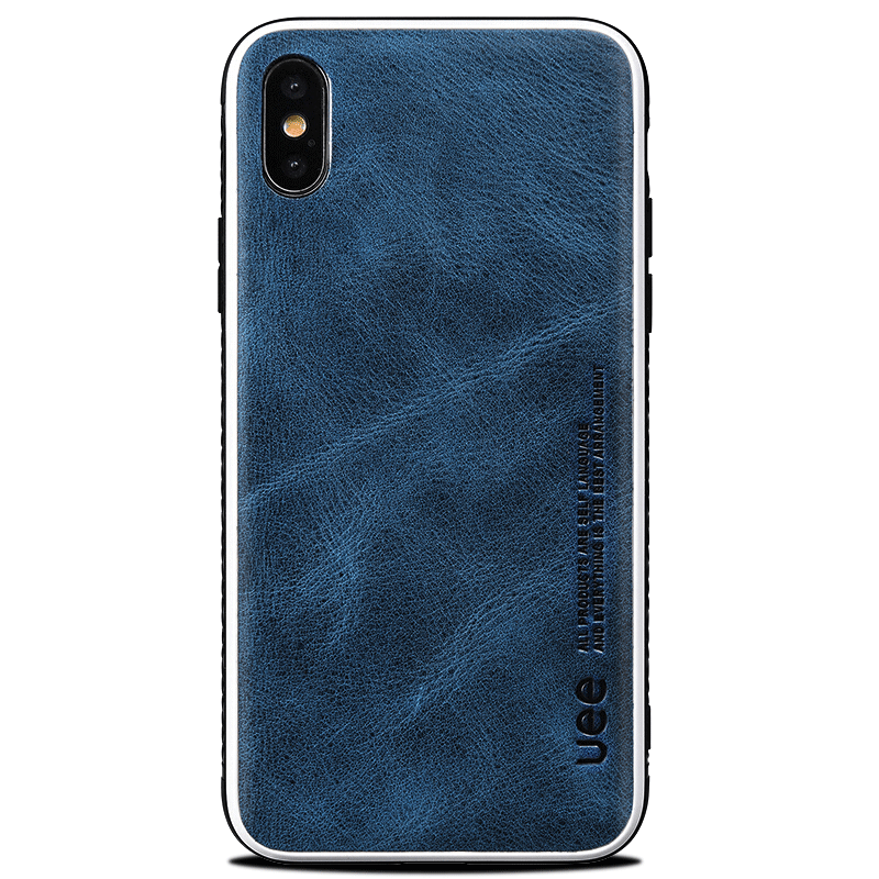 Custodia iPhone Xs Max Pelle Blu Semplici, Cover iPhone Xs Max Silicone Antiscivolo Nuovo