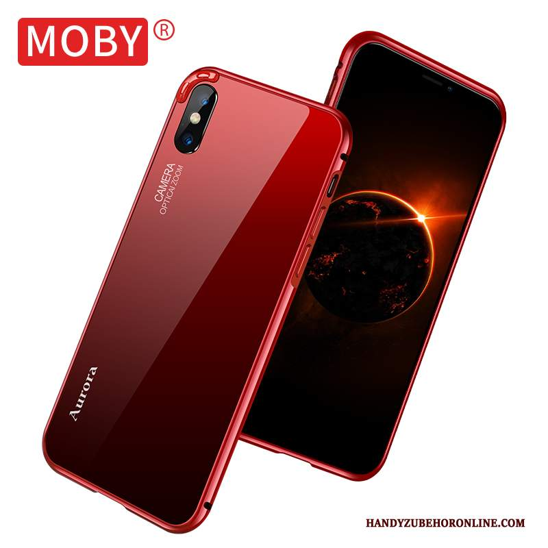 Custodia iPhone Xs Rosso Tendenza, Cover iPhone Xs Metallo Net Red