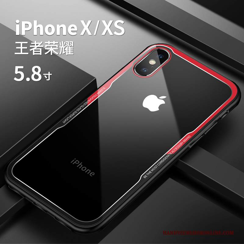 Custodia iPhone Xs Silicone Net Red Rosso, Cover iPhone Xs Nuovo Trasparente